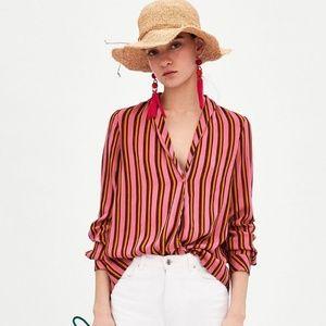 Zara long sleeve asymmetric hi-low